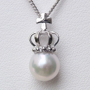 真珠 パール ペンダント ネックレス あこや本真珠 8mm ピンクホワイト系 チェーン付 送料無料