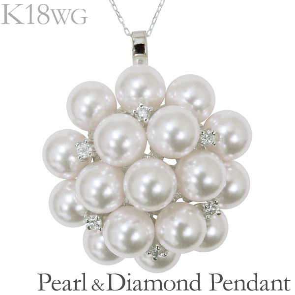 母の日 2019 ペンダントネックレス 複数珠 可愛い あこや本真珠 0.15ct ダイヤモンド K18ホワイトゴールド レディース