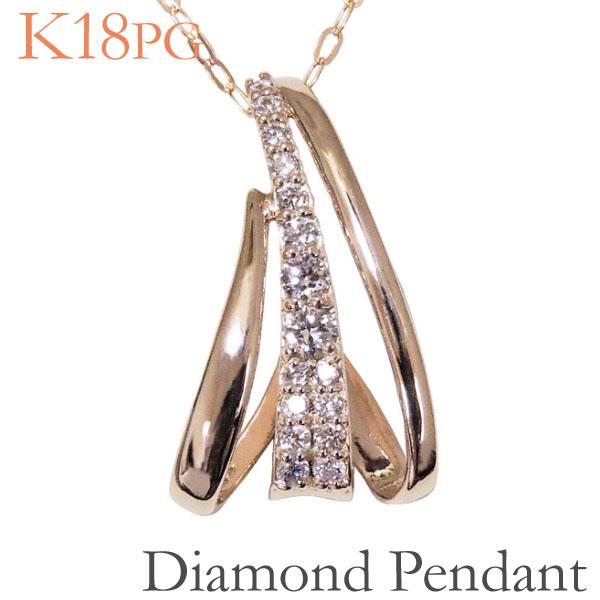 母の日 2019 ペンダントネックレス トリニティ 縦3連デザイン パヴェ ダイヤモンド K18ピンクゴールド レディース