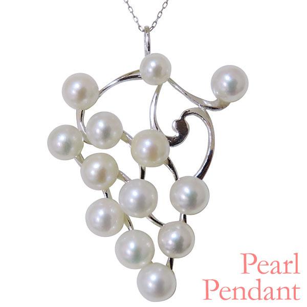 母の日 2019 ペンダントネックレス 葡萄モチーフ 複数珠 あこや本真珠 K18ホワイトゴールド レディース