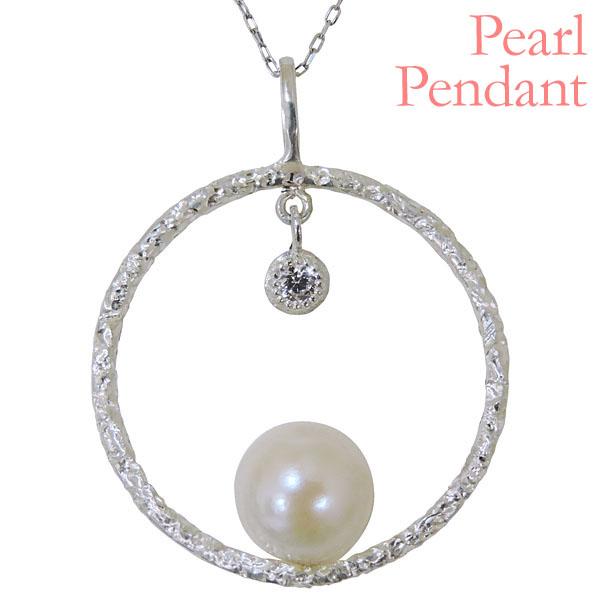 母の日 2019 ペンダントネックレス サークル型 揺れるデザイン あこや本真珠 0.05ct ダイヤモンド K18ホワイトゴールド レディース
