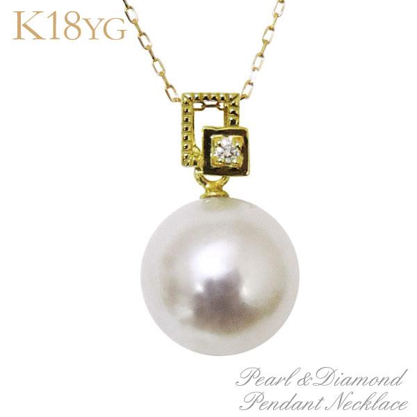 母の日 2019 ペンダントネックレス 額縁調デザイン オーロラ花珠あこや本真珠 9mm ダイヤモンド K18イエローゴールド レディース