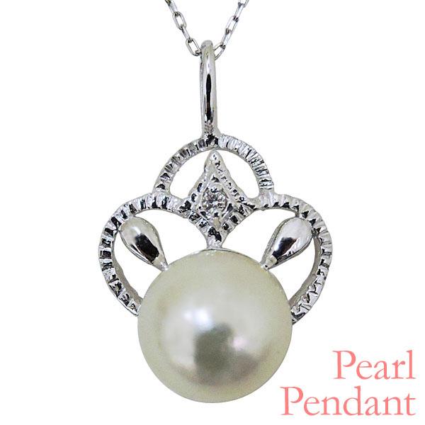 母の日 2019 ペンダントネックレス 植物型 三つ輪 あこや本真珠 0.01ct ダイヤモンド K18ホワイトゴールド レディース