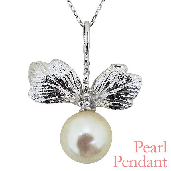 ペンダントネックレス リーフ型 可愛い双葉 あこや本真珠 0.016ct ダイヤモンド K18ホワイトゴールド レディース