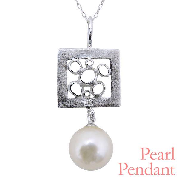 母の日 2019 ペンダントネックレス フラワーモチーフ 額縁型 パールが揺れる あこや本真珠 0.003ct ダイヤモンド K18ホワイトゴールド レディース
