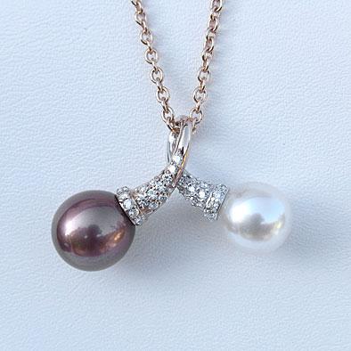 真珠 パール ペンダントネックレス ダイヤモンド タヒチ黒蝶真珠 南洋白蝶真珠 送料無料