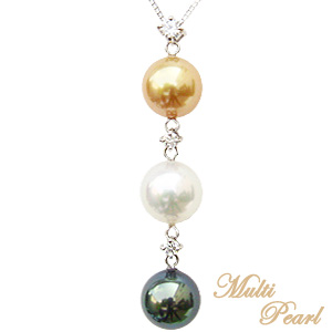 母の日 2019 限定1点 マルチカラー パール ペンダント ネックレス 南洋真珠 タヒチ黒蝶真珠 K18ホワイトゴールド ダイヤモンド