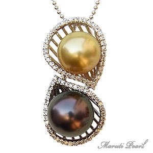 母の日 2019 マルチカラーパール タヒチ黒真珠 ダイヤモンド 南洋真珠 ホワイトゴールド K18 ペンダントトップ 10mm