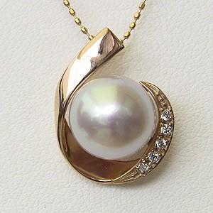 母の日 2019 真珠 ペンダントトップ ピンクホワイト系 南洋白蝶真珠 10mm ダイヤモンド K18PG ピンクゴールド