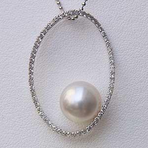 南洋白蝶真珠 K18WG ホワイトゴールド ペンダントトップ ホワイト系 10mm珠 ダイヤモンド 送料無料