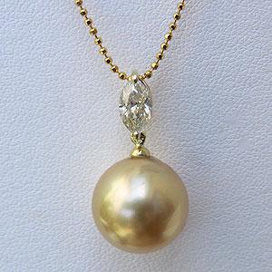 母の日 2019 パールペンダントトップ ペンダントヘッド 南洋真珠 ゴールデンパール K18 ゴールド ダイヤモンド