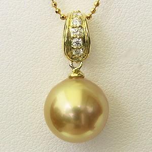 南洋白蝶真珠 ペンダントトップ ヘッド ダイヤモンド パール ゴールド系 11mm K18 ゴールド 送料無料