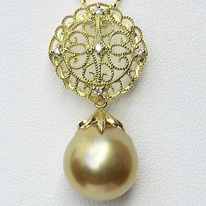 母の日 2019 真珠 パール 南洋白蝶真珠 ゴールデンパール 12mm ペンダントトップ K18 ゴールド