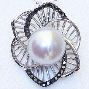 母の日 2019 真珠 パール 南洋白蝶真珠 10mm ペンダントトップ ホワイトゴールド ブラックダイヤモンド