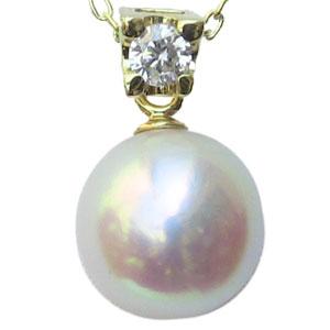 真珠 ペンダントトップ 9mm パール K18 18金 ゴールド ダイヤモンド 送料無料