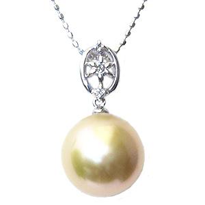 母の日 2019 真珠 パール ペンダントトップ 南洋白蝶真珠 ゴールデンパール 10mm ホワイトゴールド