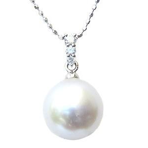 真珠 パール ペンダントトップ 南洋白蝶真珠 10mm K18WG ホワイトゴールド