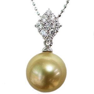 母の日 2019 真珠 パール ペンダントトップ ゴールデンパール 南洋白蝶真珠 ゴールド系 10mm ホワイトゴールド