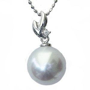 母の日 2019 真珠 パール ペンダントトップ 南洋白蝶真珠 10mm K18WG ホワイトゴールド ダイヤモンド