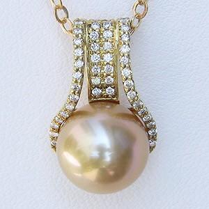 母の日 2019 南洋白蝶真珠 ペンダントネックレス ダイヤモンド パール 11mm クリームゴールド系 K18 ゴールド チェーン付