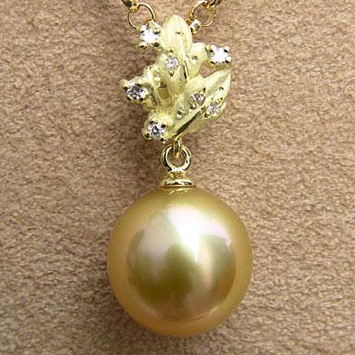 真珠 パール ペンダント トップ ヘッド 南洋白蝶真珠 ゴールド11mm K18 ゴールド 送料無料