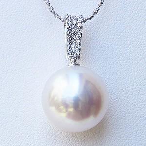 母の日 2019 真珠 パール 南洋白蝶真珠 ペンダント ネックレス 14m ピンクホワイト系 ホワイトゴールド
