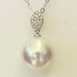 母の日 2019 南洋白蝶真珠 ペンダントネックレス ダイヤモンド 13mm ピンクホワイト系 K18WG