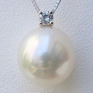 母の日 2019 南洋白蝶真珠 ペンダントネックレス 12mm ピンクホワイト系 ダイヤモンド K18WG ホワイトゴールド