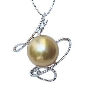 母の日 2019 真珠 パール ペンダントトップ 南洋白蝶真珠 ゴールデンパール 12mm K18WG ホワイトゴールド ダイヤモンド
