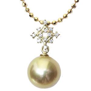 真珠パール 6月誕生石 ペンダントトップ 南洋白蝶真珠 ゴールド系 直径10mm ダイヤモンド K18 ゴールド
