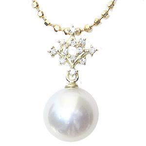 真珠 パール ペンダントトップ 南洋白蝶真珠 10mm K18 18金 ゴールド ダイヤモンド