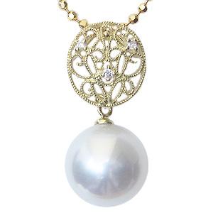 母の日 2019 真珠 パール ペンダントトップ 南洋白蝶真珠 10mm K18 18金 ゴールド ダイヤモンド