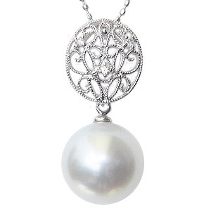 ペンダントトップ ダイヤ ネックレスペンダント 南洋真珠パール PT900プラチナネックレス ダイヤモンド