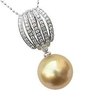 母の日 2019 ネックレスペンダント 南洋真珠パール ホワイトゴールドネックレス ダイヤモンド