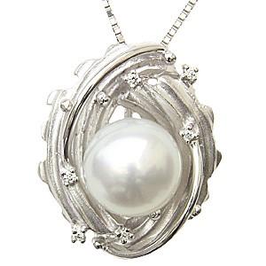 パール ペンダントトップ ダイヤ ネックレスペンダント 南洋真珠パール PT900プラチナ ダイヤモンド