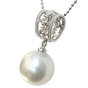 パール ペンダントトップ ダイヤ ネックレスペンダント 南洋真珠パール ホワイトゴールドネックレス ダイヤモンド