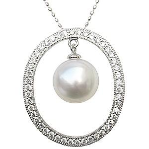 ネックレスペンダント 南洋真珠パール K18ホワイトゴールドネックレス ダイヤモンド