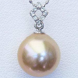母の日 2019 真珠 パール 南洋白蝶真珠 10mm ゴールデンパール ペンダントトップ ホワイトゴールド