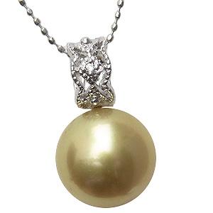 パール ペンダントトップ 南洋真珠パール PT900プラチナパール ダイヤモンド ペンダント