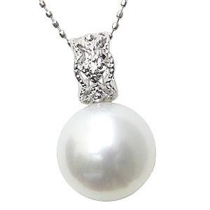 パール ペンダントトップ 南洋真珠パール ホワイトゴールドネックレス ダイヤモンド