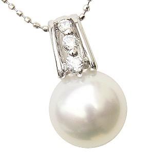 母の日 2019 ネックレスペンダント 南洋真珠パール K18ホワイトゴールドネックレス ダイヤモンド
