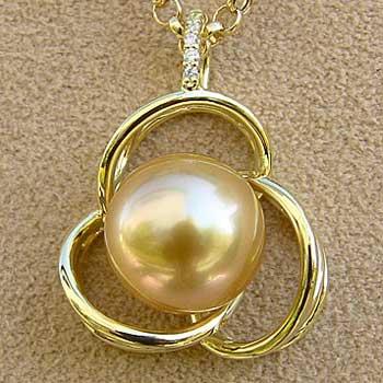 母の日 2019 真珠 ペンダント パール 南洋白蝶真珠 ゴールド系 11mm K18 ペンダントトップ ダイヤモンド