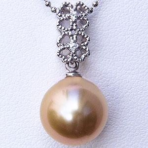 母の日 2019 真珠 ゴールデン パール ペンダントトップ 南洋真珠 10mm ホワイトゴールド K18WG