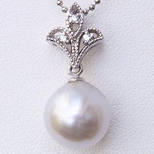 母の日 2019 真珠 パールペンダントトップ 南洋真珠 10mm ホワイトゴールド K18WG