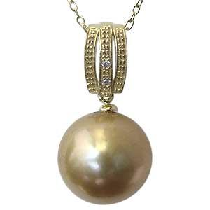 真珠 パール ペンダント 南洋白蝶真珠 K18 ゴールド 真珠径11mm ゴールド系 ダイヤモンド 2石 計0.01ct ペンダントトップ