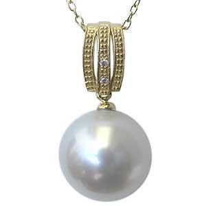 母の日 2019 ペンダント 真珠 パール 南洋白蝶真珠 K18 ゴールド 真珠 ピンクホワイト系 径11mm ダイヤモンド 2石 計0.01ct ペンダントトップ