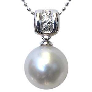 ペンダント 真珠 パール 南洋白蝶真珠 K18WG ホワイトゴールド 真珠 ピンクホワイト系 径10mm ダイヤモンド 3石 計0.05ct ペンダントトップ