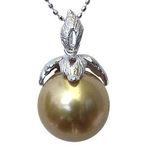 母の日 2019 ペンダント 真珠 パール 南洋白蝶真珠 PT900 プラチナ 真珠 ゴールド系 径11mm ペンダントトップ