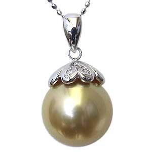 母の日 2019 真珠 パール ペンダント 南洋白蝶真珠 K18WG ホワイトゴールド 真珠径11mm ゴールド系 ダイヤモンド 3石 計0.02ct ペンダントトップ