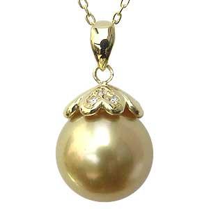 母の日 2019 真珠 パール ペンダント 南洋白蝶真珠 K18 ゴールド 真珠径11mm ゴールド系 ダイヤモンド 3石 計0.02ct ペンダントトップ